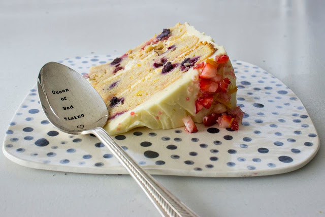 Berry and citrus three layer cake